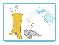 靴やブーツの中にキエルキンを吹きかけ、雑菌の繁殖を抑制し、更に臭いの原因物質を分解・除去します。