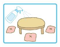 食卓・テーブルの除菌にも直接吹きかけ、布巾で拭き取ります。