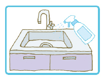排水口の臭い、カビ予防に、直接キッチン、お風呂場または、洗面所等の排水口に直接吹きかけて下さい。