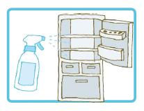 冷蔵庫のお掃除に、中身を出し、キエルキンを吹きかけて、布で拭き取ります。