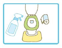 便座に直接吹きかける事で、除菌・消臭。その後トイレットペーパーで拭き取ってください。